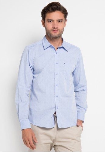 YEGE blue Long Sleeve Solid Fil-Coupe Shirt YE201AA0UOSQID_1