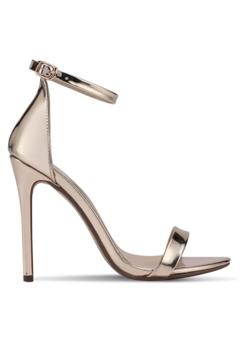 MISSGUIDED gold Two Strap Barely There Heels 9694FSHB1D86B1GS_1
