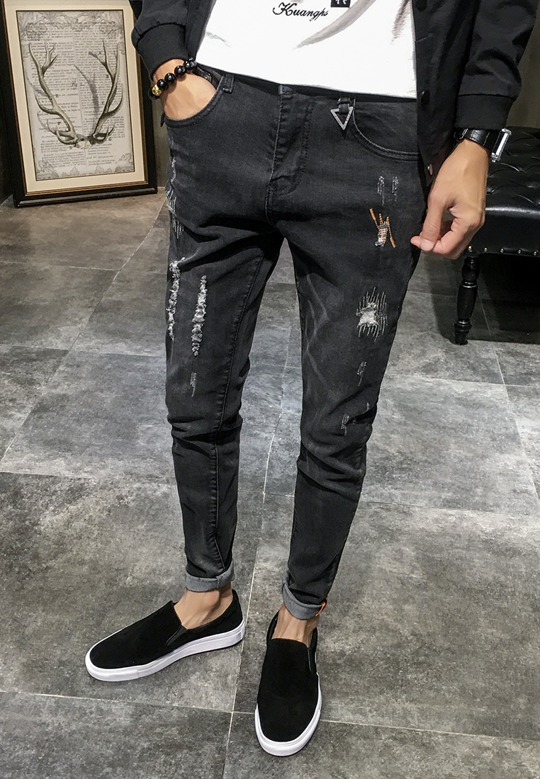 Rips black Rise hk Men ehunter Mid Jeans gdYfdwqAx