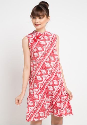 Bateeq red and multi Sleeveless Cotton Print Dress F65A2AA3082CBFGS_1