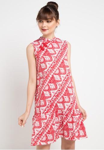 Bateeq red and multi Sleeveless Cotton Print Dress F65A2AA3082CBFGS_1