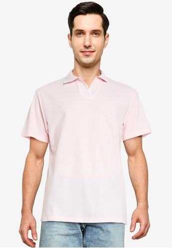 ZALORA BASICS pink Contrast Tip Relaxed Polo Shirt 4750DAA74694B4GS_1