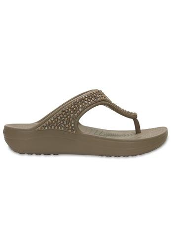 Crocs beige Women's Crocs Sloane Embellished Flip Mrm CR883SH83XUEMY_1