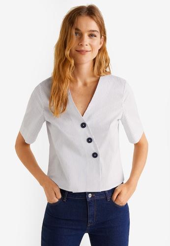Mango blue Buttoned Cotton Shirt EF75CAAC8E8287GS_1