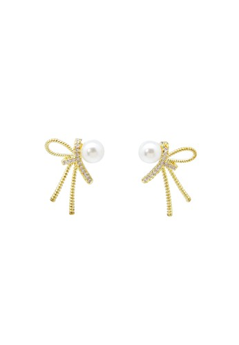 Elgra white and gold ELGRA - Payton Stud Gold Pearl Elegant Earring A8A44ACF928214GS_1