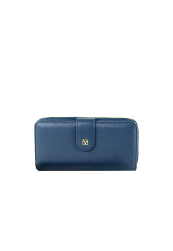 Valentino Rudy blue Valentino Rudy Italy Ladies 2 Fold Long Wallet with Wrist strap 040735-503 D6426ACB698692GS_1