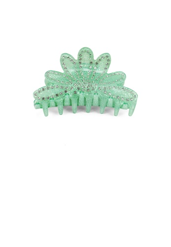 Glamorousky white Fashion and Elegant Green Flower Hair Claw with Cubic Zirconia 14CF5ACDD4C074GS_1