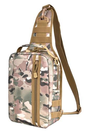 Vince brown Casual Nylon Backpack Sling Bag Men Shoulder Bag Chest Bag (Khaki) FL898AC15AUYMY_1