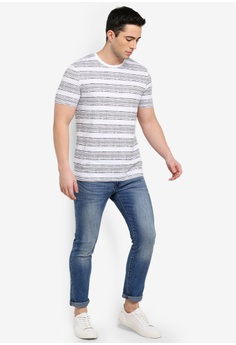 3fcb0102fc65 30% OFF Burton Menswear London White And Navy Ikat Stripe T-Shirt S$ 29.90  NOW S$ 20.90 Sizes XS S M L
