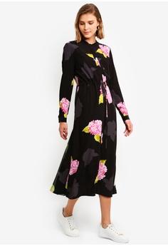 6f596dc4ebc French Connection black and multi Eleonore Drape Midi Shirt Dress  77C2DAA7C10228GS_1