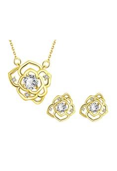 Treasure by B&D S020-A Camellia Flower Zircon Embellished Necklace & Stud Earrings Party Jewellery Set