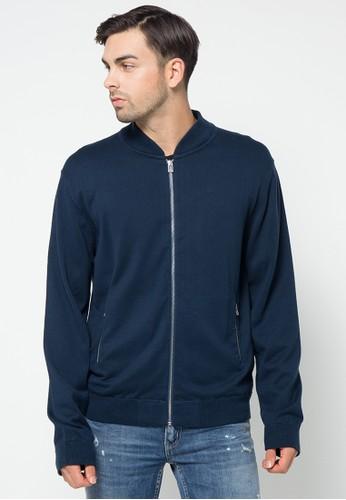 Noir Sur Blanc blue Mens Cardigan With Zipper & Pocket NO321AA78NFLID_1