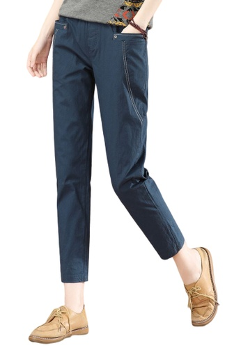 A-IN GIRLS navy Elastic Waist All-Match Trousers 61044AAECEFC6FGS_1