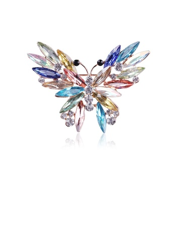 Glamorousky multi Elegant and Bright Colorful Butterfly Brooch with Cubic Zirconia 58102AC3500860GS_1