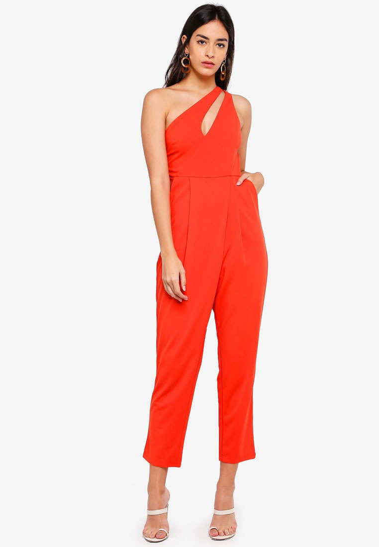 Side Red Jumpsuit With Toga Sleeveless INDIKAH Pockets FI1qHH