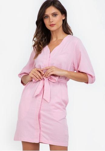 ZALORA WORK pink Puff Sleeve Mini Dress 08067AAB80C6BEGS_1