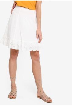 761afe9103 Something Borrowed white Eyelet Hem A-Line Skirt C8801AAFF28592GS 1