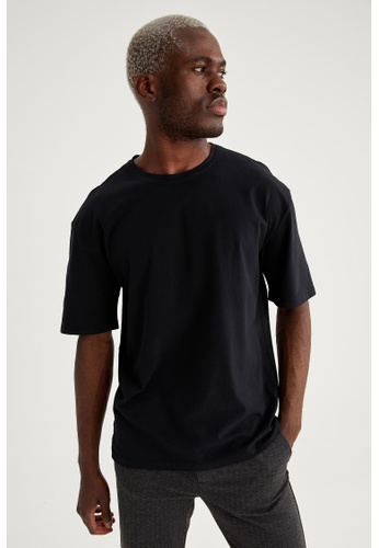 DeFacto black Short Sleeve Round Neck Cotton T-Shirt 75E8EAA72A27CFGS_1