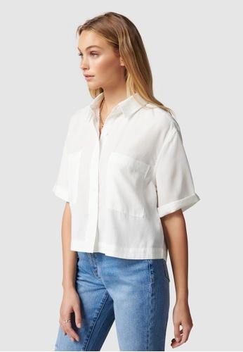 Forever New white Mathilda Short Sleeve Shirt 1A7FDAAF37813DGS_1