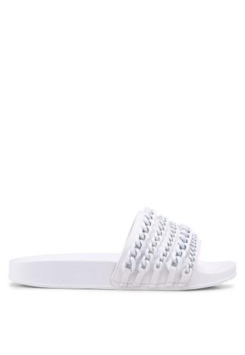 Carlton London 白色 鍊條飾拖鞋 07BC6SH6399BFFGS_1