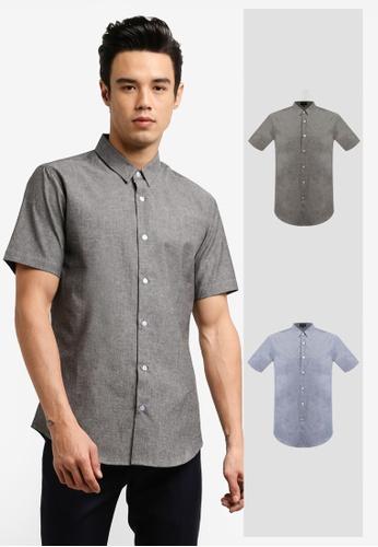 ZALORA black and navy 2 Pack Slim Fit Chambray Short Sleeve Shirt ZA819AA11JIYMY_1