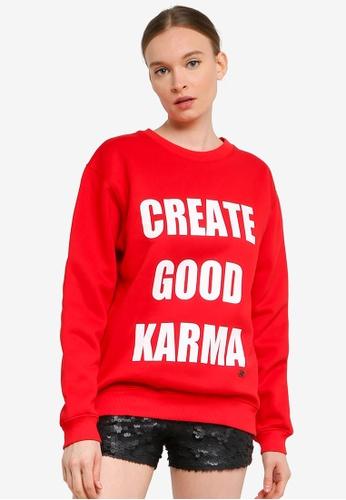 FK by Farah Khan red CREATE GOOD KARMA Printed Sweatshirt FEA6AAAA9E609CGS_1
