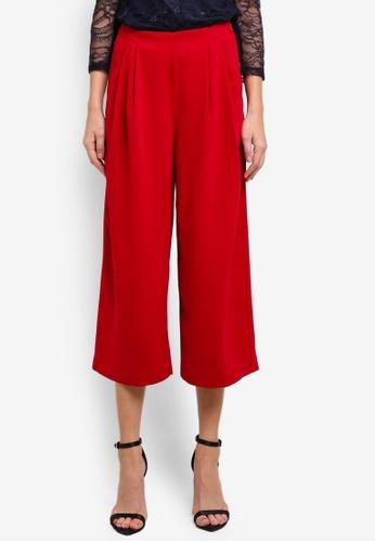 WAREHOUSE red Soft Pleated Culottes WA653AA0SCTSMY_1