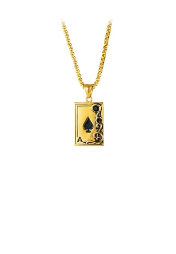 Glamorousky black Fashion Personality Plated Gold Ace Of Spades Playing Card 316L Stainless Steel Pendant with Cubic Zirconia and Necklace 2B510AC1BB54AEGS_1
