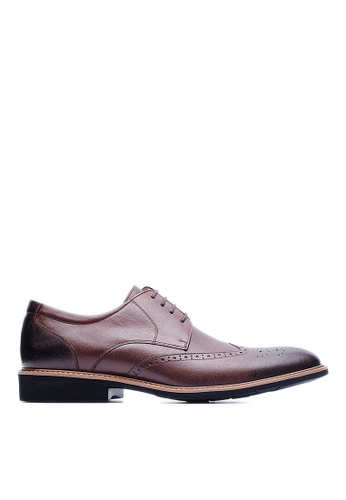 Life8 brown Lightweight Wax Cow Leather Embossing Derby Shoes-09216-Coffee LI286SH35USIMY_1