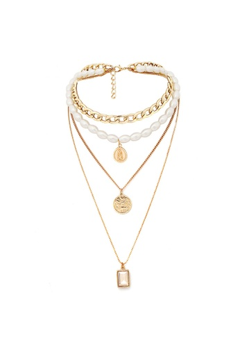 Bullion Gold gold OBSESSION Multilayer 4 Piece Funky and Trendy White Resin Layering Gold Necklace 36C1CACB2C25FFGS_1