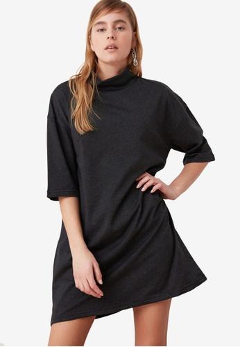 Trendyol grey High Neck Oversized Sweater Dress 05CC6AAAE954EBGS_1