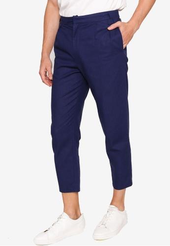 ZALORA BASICS navy Buckle Waist Linen Trousers AB55BAA54BA9BBGS_1