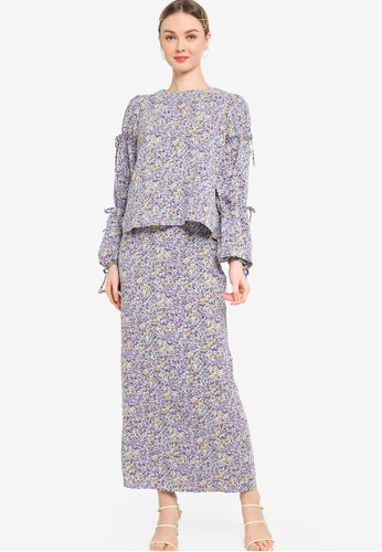 Lubna 藍色 and 紫色 Tiered Puff Sleeve With Ribbon Kurung D3B86AA63B4A7FGS_1