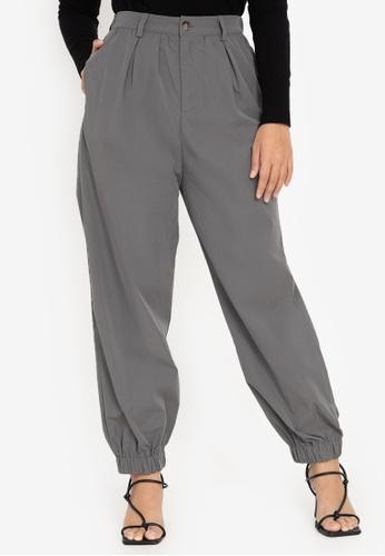 ZALORA BASICS grey Mid Rise Harem Pants 67829AA849A59DGS_1