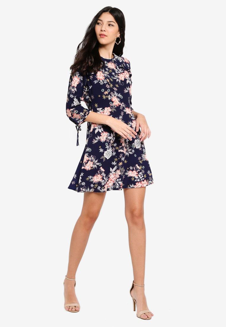 Dress Fit Flare Floral Navy Angeleye amp; Navy w6FIxC4q5x