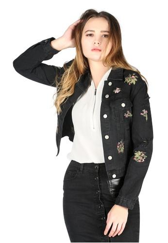 London Rag black Embroidered Denim Jacket 0C683AAA3FBDAEGS_1