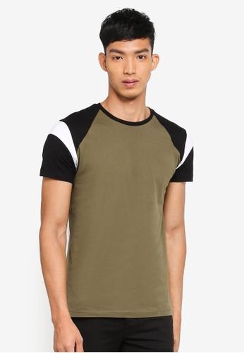 Jack Wills green Rayner Colour Block Raglan T-Shirt 50A0FAAFF1A277GS_1
