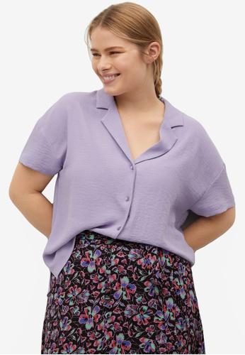 Violeta by MANGO purple Plus Size Camp-Collar Blouse A9276AA9E80918GS_1