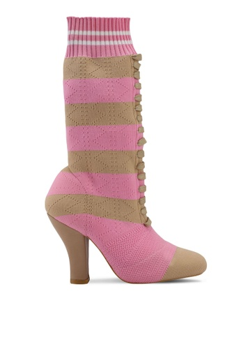 Nose pink Duo Tone Knitted Ankle Boots 32F71SH1B04457GS_1