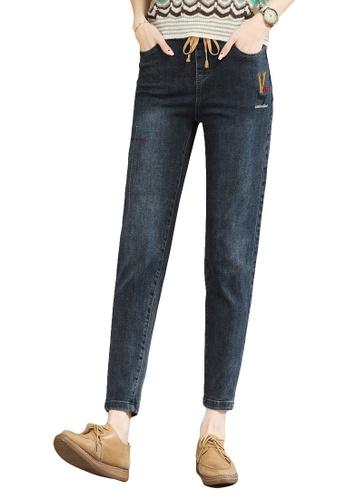 A-IN GIRLS navy Elastic Waist All-Match Jeans C6BA2AA882D210GS_1