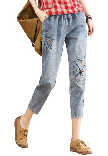 A-IN GIRLS blue Elastic Waist Embroidered Cropped Jeans 1C1C1AAA70E825GS_1