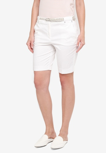ESPRIT white Braided Belt Woven Regular Shorts EECDFAA3354806GS_1