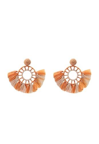 Mango orange Embossed Hoop Earrings F75A5AC99AFF0CGS_1