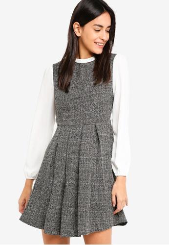 ZALORA black and white Tweet Mock Collar Dress 27DF9AA417E99DGS_1