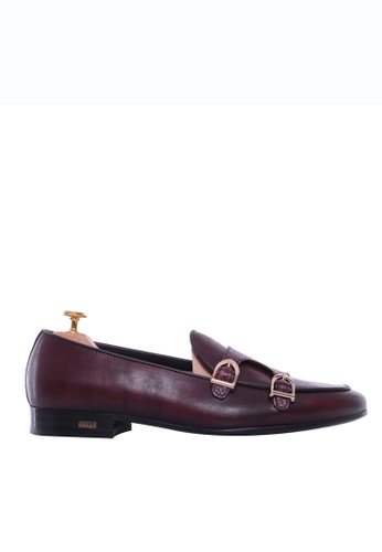 Zeve Shoes red Zeve Shoes Belgian Loafer - Red Burgundy Snake Skin Double Monk Strap (Hand Painted Patina) 0DD9DSH8F3B9F4GS_1