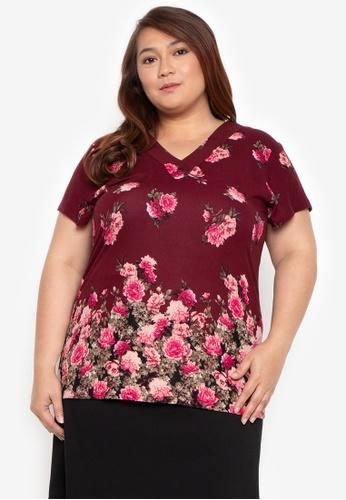 b7689e825599b Shop Multiples Plus Size Melissa Floral V-Neck Blouse Online on ZALORA  Philippines