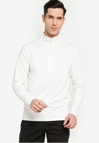 ZALORA ACTIVE white Half Zip Training Long Sleeve Tee 17936AA420D9B6GS_1