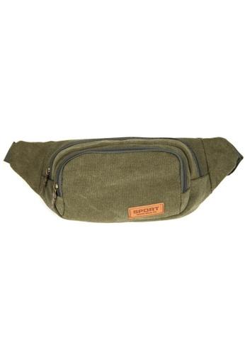 Jackbox green Classic Design Canvas Shoulder Bag Waist Pouch Bag 705 (Green) JA762SE59NRKMY_1