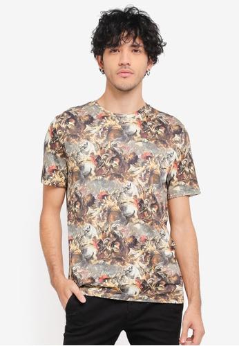 Topman brown Brown Battle Printed T-Shirt TO413AA0SR98MY_1