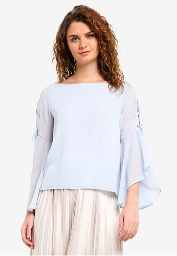 TOPSHOP blue Eyelet Lace Up Flute Sleeve Top TO412AA0RMWOMY_1